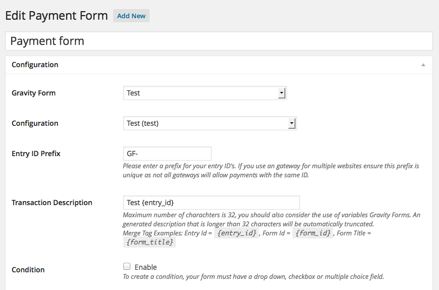 Gravity Forms - Payment Form - Entry ID Prefix