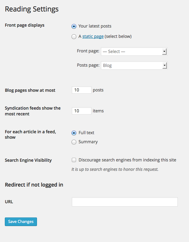 WordPress - Reading Settings
