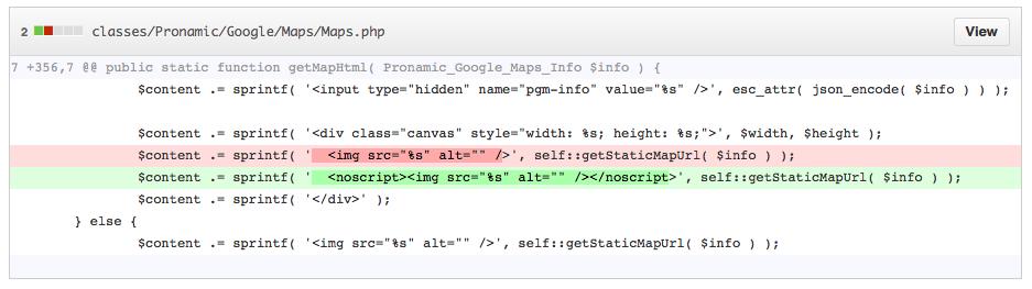 Pronamic Google Maps noscript