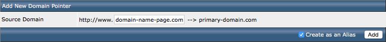 Add domain pointer in DirectAdmin