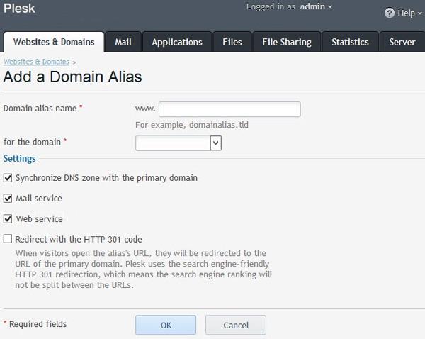 Add a domain alias in Plesk